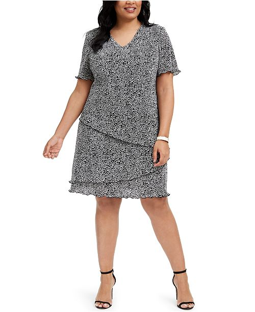 Connected Plus Size Printed Asymmetrical Tiered Dress