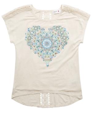Beautees Big Girls Lace-Back Heart T-Shirt