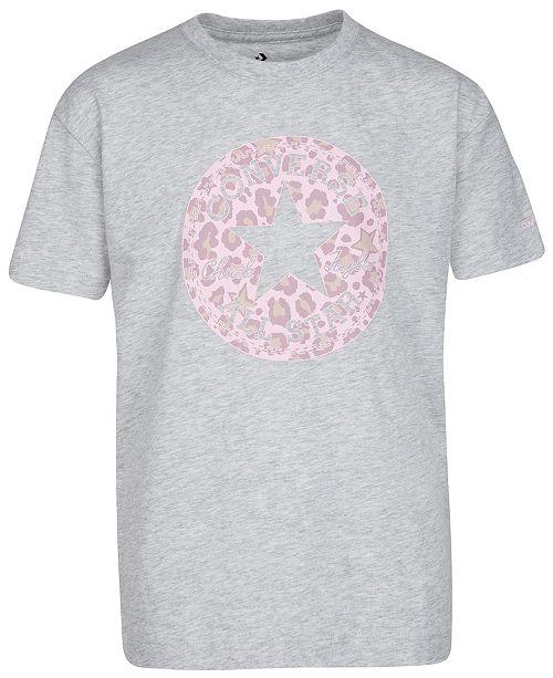 Converse Big Girls Cotton Leopard Patch T-Shirt