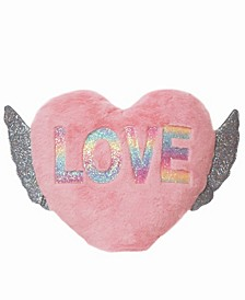 Toddler, Little and Big Kids Love Winged Heart Pillow