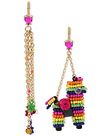 Gold-Tone Multicolor Pavé Flower & Beaded Piñata Mismatch Drop Earrings