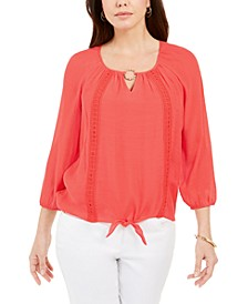 Crochet-Trim Tie Top, Created for Macy's