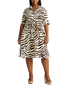 Plus-Size Print Linen Shirtdress