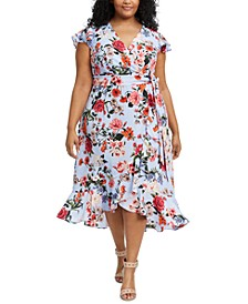 Plus Size Floral-Print Faux-Wrap Dress