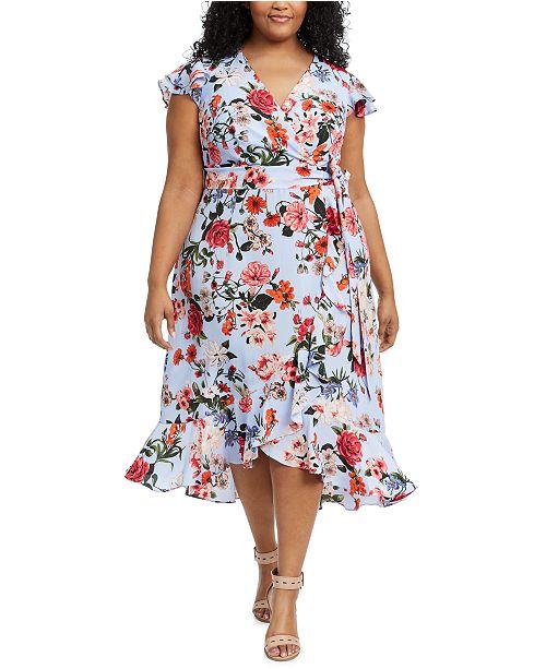 Vince Camuto Plus Size Floral-Print Faux-Wrap Dress
