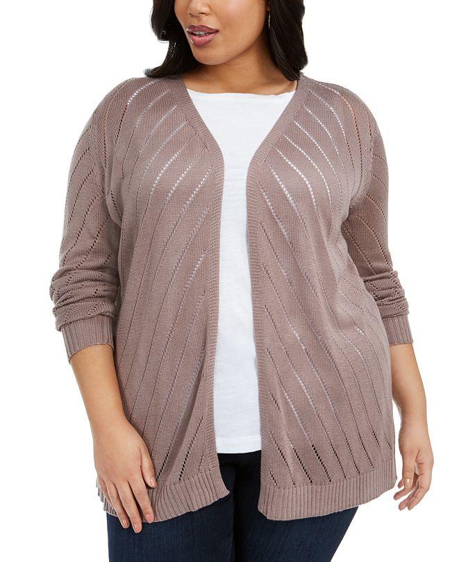 Belldini Plus Size Diagonal-Striped Cardigan