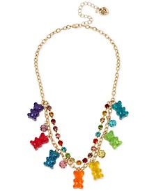 "Gold-Tone Crystal, Fireball & Gummy Bear Statement Necklace, 16"" + 3"" extender"
