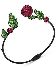 "Hematite-Tone Pavé Leaf & Glitter Rose 15-1/2"" Collar Necklace"
