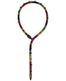 "Black-Tone Flower & Glitter Rose Mesh-Covered Multicolor Snake 21-1/2"" Lariat Necklace"