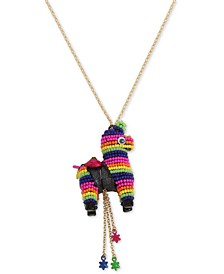 "Gold-Tone Multicolor Beaded Piñata Pendant Necklace, 26""+ 3"" extender"