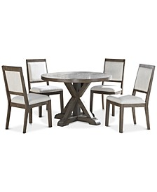 Molly 5-Pc. Dining Set, (Round Table & 4 Side Chairs)