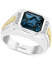 EFFY® Men's London Blue Topaz (5-5/8 ct. t.w.) & Diamond (1/10 ct. t.w.) Ring in Sterling Silver & 18k Gold-Plate