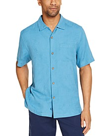 Men's Tiki Grill Classic-Fit Embroidered Palm-Jacquard Silk Camp Shirt