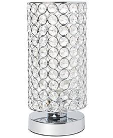 Elegant Designs Elipse Crystal Bedside Nightstand Cylindrical Uplight Table Lamp