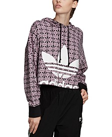 Women's Cotton Printed Cropped Hoodie