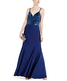 Sequin-Dot Sateen Fitted Gown