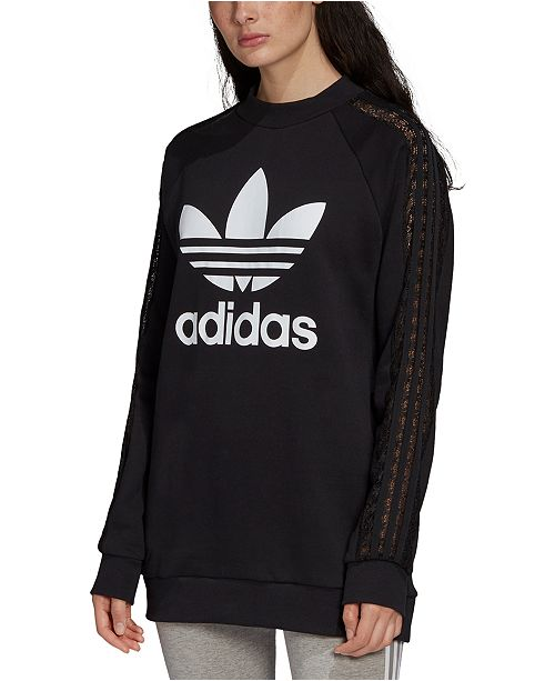 adidas Women's Cotton Lace-Trimmed Logo Sweatshirt