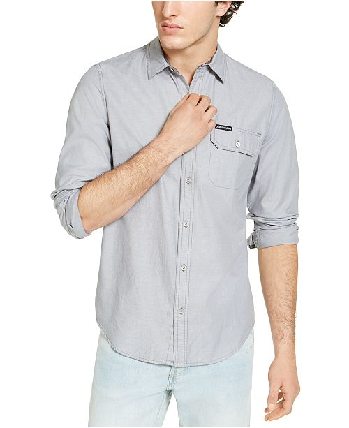 Calvin Klein Jeans Calvin Klein Men's Long Sleeve Chambray Stripe Shirt