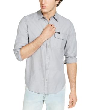 Calvin Klein Jeans Est.1978 CALVIN KLEIN MEN'S LONG SLEEVE CHAMBRAY STRIPE SHIRT