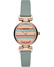 Women's Reversible Mint Green & Multicolor Stripe Leather Strap Watch 28mm