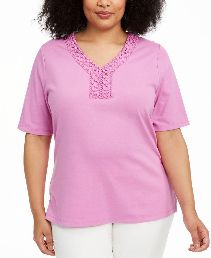 Karen Scott - Plus Size V-Neck Crochet Top
