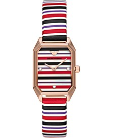 Women's Multicolor Leather Strap Watch 24mm