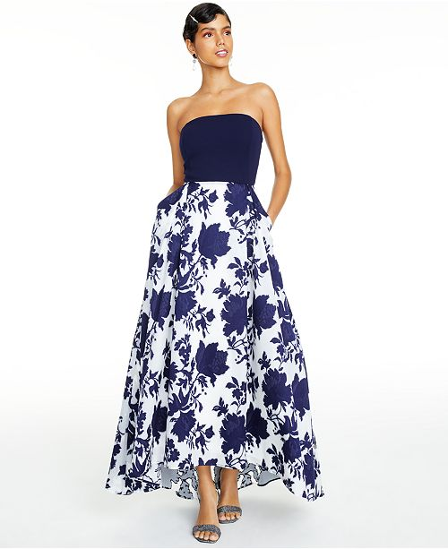 Jump Juniors' Lace-Up-Back Embroidered-Skirt Gown