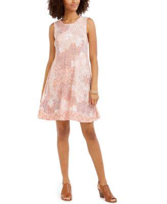 Printed Sleeveless Swing Dress, Created for Macy's