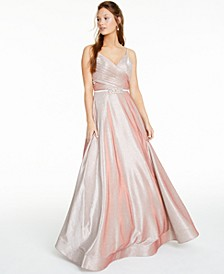 Juniors' Ruched-Front Embellished Glitter Gown