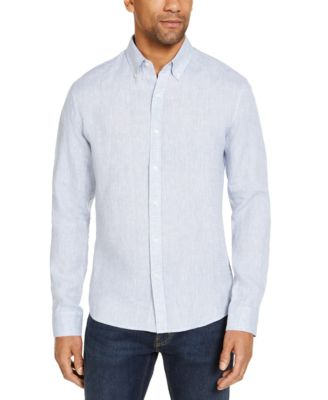 Mens Ikat plain woven textured shirt