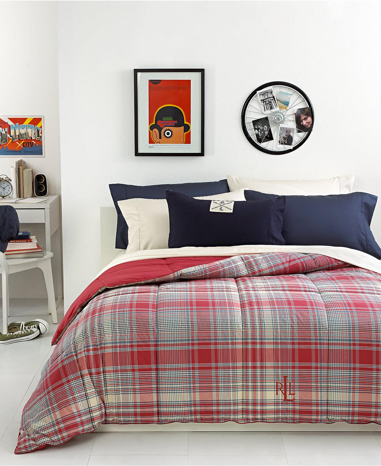 Ralph lauren plaid bedding - Lauren Ralph Lauren Nantucket Embroidered Logo Down Alternative Comforters