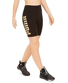 Metallic-Logo High-Waist Bike Shorts