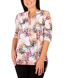 Petite Printed Pleat-Front Utility Top