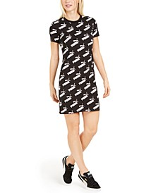 Amplified Logo-Print Fitted T-Shirt Dress