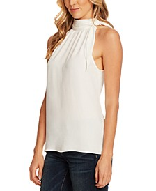 Tie-Neck Halter Rumple Blouse