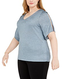 Plus Size Beaded Ladder-Sleeve Top