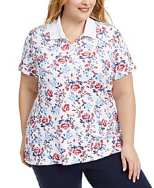 Plus Size Floral-Print Polo Top, Created for Macy's