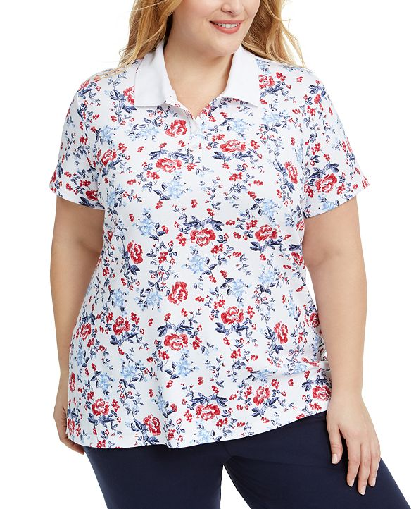 Karen Scott Plus Size Floral-Print Polo Top, Created for Macy's