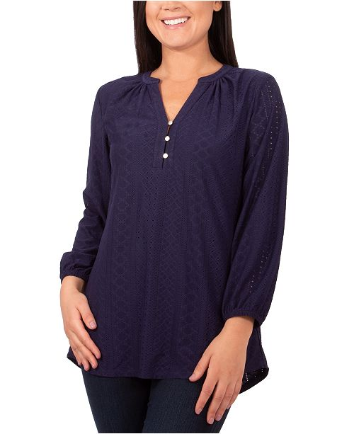 NY Collection Petite Y-Neck Eyelet Top
