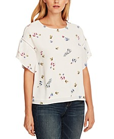 Floral-Print Tulip-Sleeve Blouse