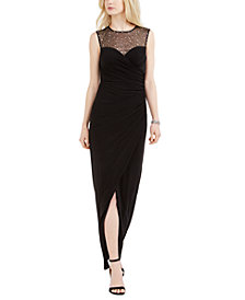 Vince Camuto Petite Sweetheart Embellished Illusion Gown