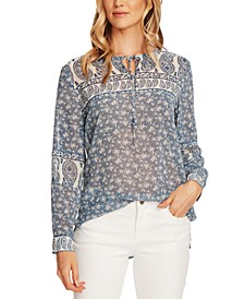 Mixed-Print Tie Peasant Blouse