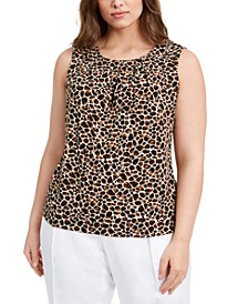 Plus Size Animal-Print Pleat-Neck Top