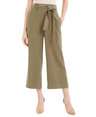 Tie-Belt Cropped Pants