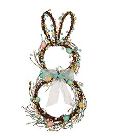 Easter Bunny Shaped Wreath with Eggs Satin Ribbon Bow