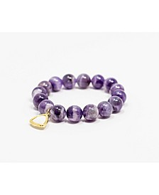 Amethyst Beaded Gem Single with Crystal Accent Bracelet