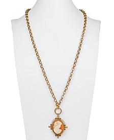 "Gold-Tone Imitation Pearl Cameo Medallion 21-1/2"" Convertible Pendant Necklace"