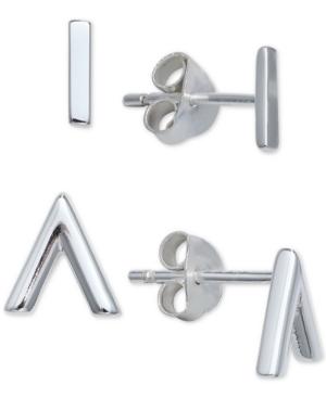2-Pc. Set Polished Bar & Chevron Stud Earrings in Sterling Silver