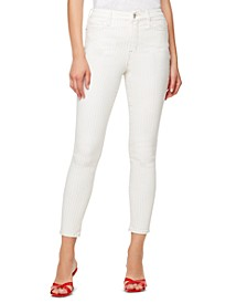 Striped High-Rise Skinny Ankle Jeans