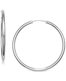 """Medium Endless Hoop Earrings in Sterling Silver, 1.57"""", Created for Macy's"""